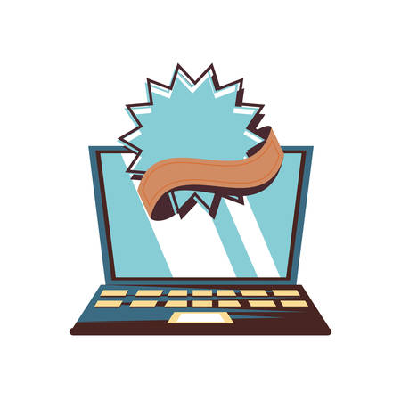 laptop with commercial frame vector illustration design
