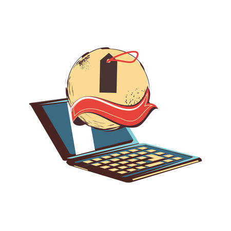 laptop with commercial tag vector illustration design Illustration