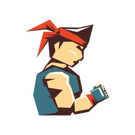 karate man avatar character vector illustration design 向量圖像