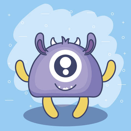 cute monster card icon vector illustration design