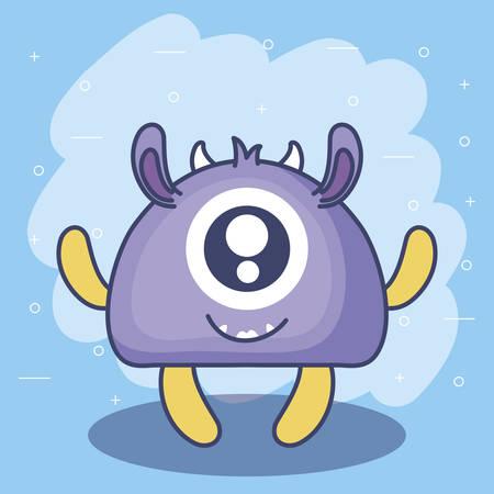 niedliches Monster Kartensymbol Vektor-Illustration Design
