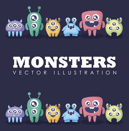 group of cute monsters card vector illustration design Illusztráció