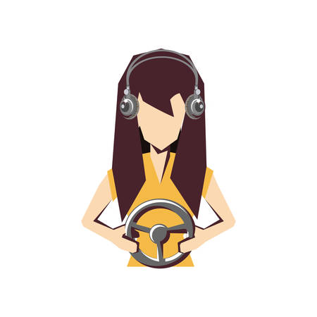 woman player video game with wheel vector illustration design  イラスト・ベクター素材