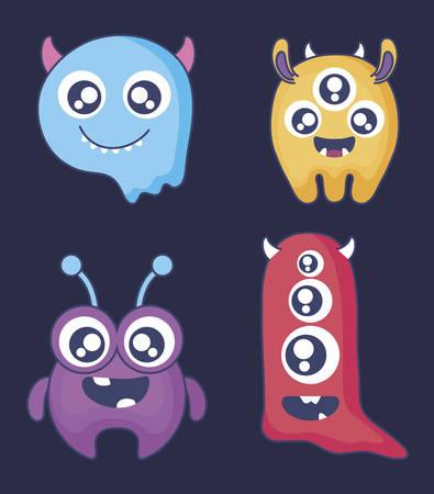 Gruppe von niedlichen Monstern Kartenvektor-Illustrationsdesign
