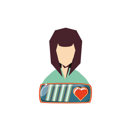 female player video game and life bar with heart vector illustration design 일러스트