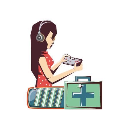 woman player video game and set icons vector illustration design Ilustración de vector