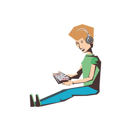 man player video game sitting with control vector illustration design