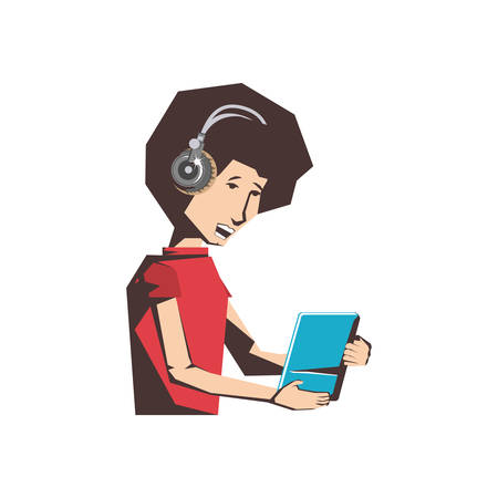 man with tablet device and headphone vector illustration design