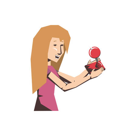 woman player video game with joystick vector illustration design
