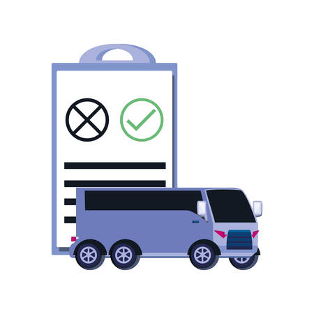 bus transportation with clipboard checklist vector illustration design