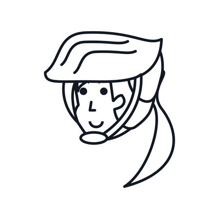 head of woman cyclist with helmet security vector illustration design