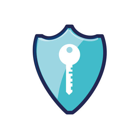 shield secure with key isolated icon vector illustration design
