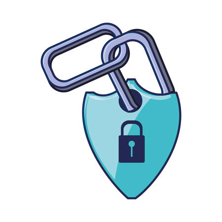 shield secure with padlock and chain vector illustration design