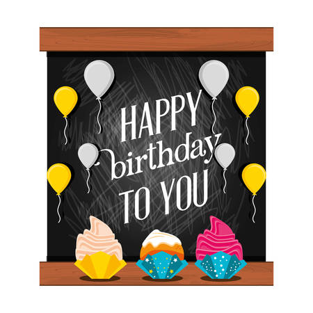 sweet cupcakes of birthday and balloons air vector illustration design