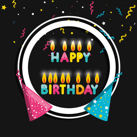 frame birthday with hats and candles vector illustration design
