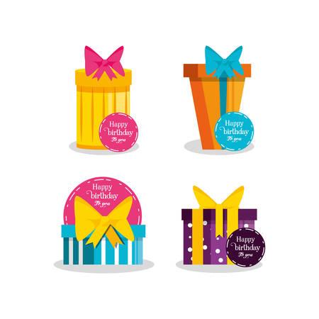 set of birthday gift boxes vector illustration design