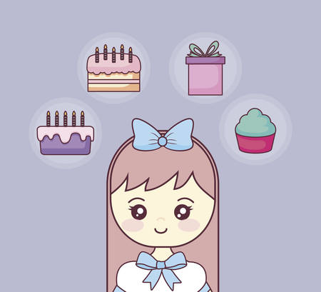happy birthday with little girl and set icons vector illustration design