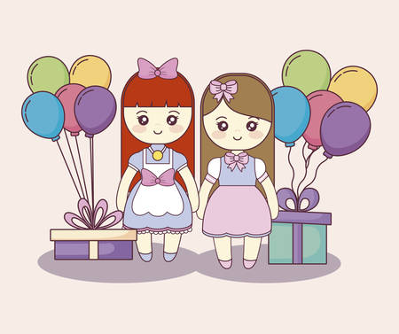 little girls with gifts boxes and balloons helium vector illustration design
