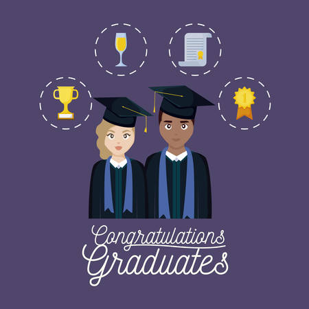 graduation celebration card with couple and set icons vector illustration design