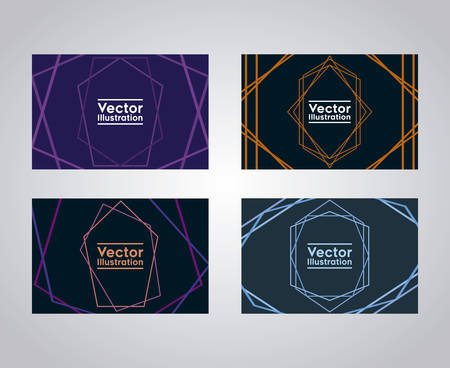 set of business cards with lines and figures vector illustration design Ilustrace