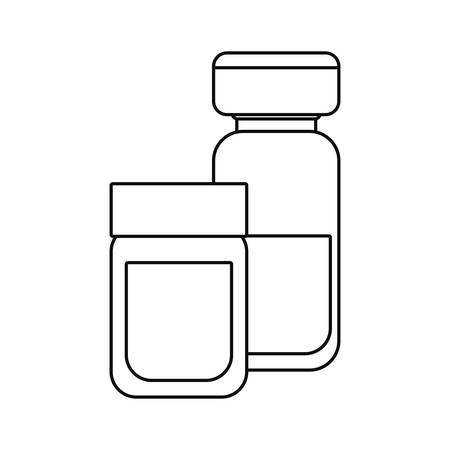 bottles pharmacy vaccination medical vector illustration outline