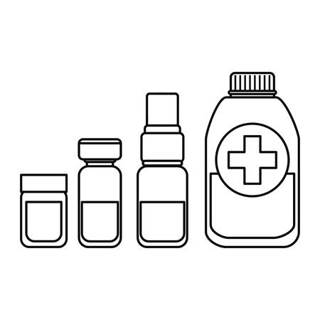 pharmaceutical bottles supply vaccination medical vector illustration outline Illustration