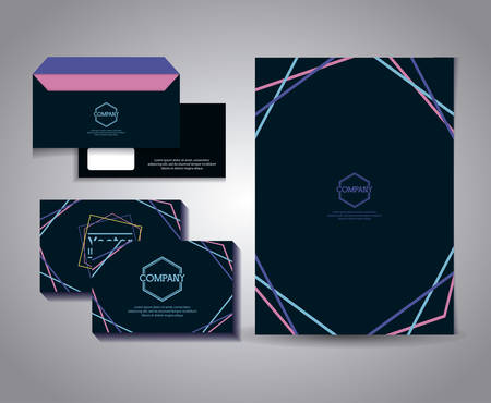 set of business card with lines and envelope vector illustration design