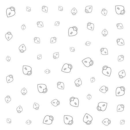 padlock hearts background happy valentines day vector illustration outline