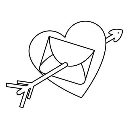 mail heart pierced arrow happy valentines day vector illustration