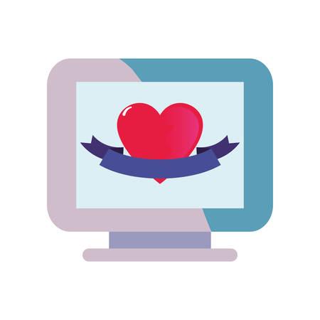 computer heart love happy valentines day vector illustration Ilustração