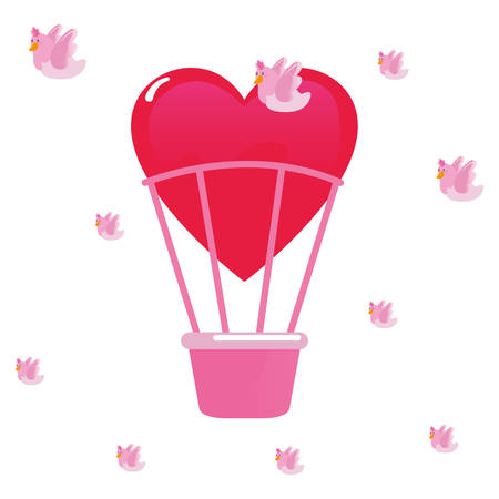 air balloon pigeon happy valentines day vector illustration