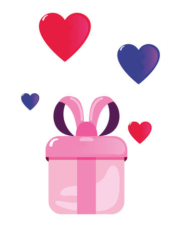 gift hearts happy valentines day vector illustration