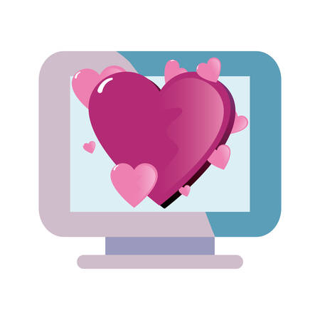 computer heart happy valentines day vector illustration