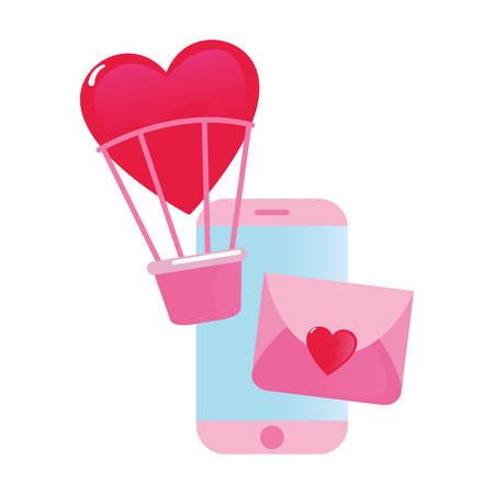 cellphone mail air balloon happy valentines day vector illustration Ilustração