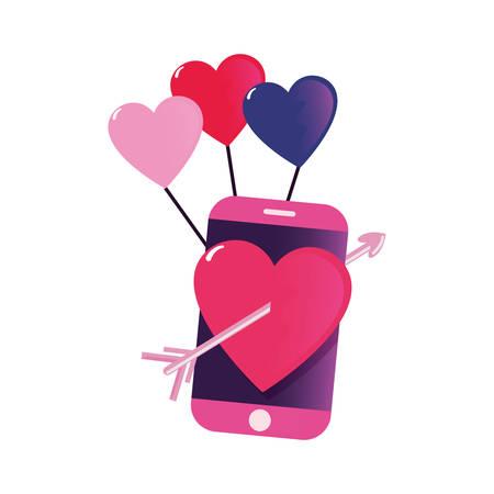 cellphone balloons heart arrow happy valentines day vector illustration