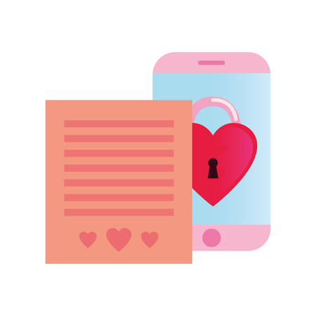 cellphone padlock love message happy valentines day vector illustration