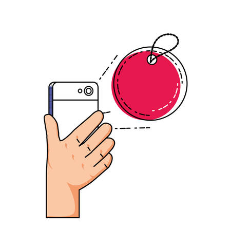 hand using smartphone with commercial tag vector illustration design Vettoriali
