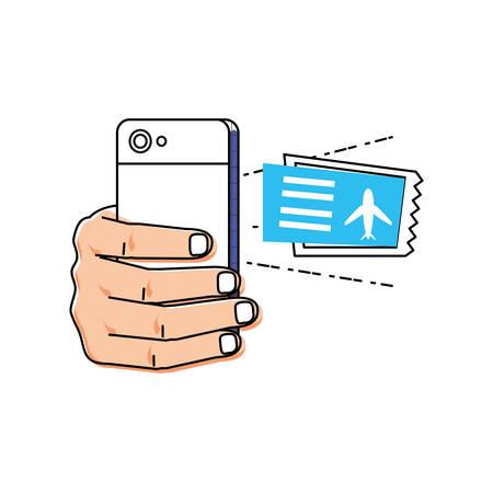 hand using smartphone buying tickets flight vector illustration design