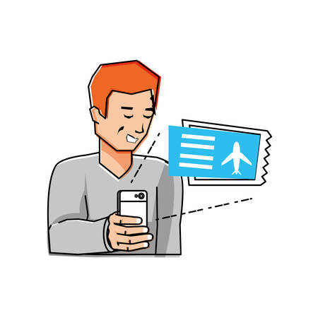 young man using smartphone vector illustration design