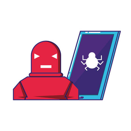 smartphone device with robot vector illustration design
