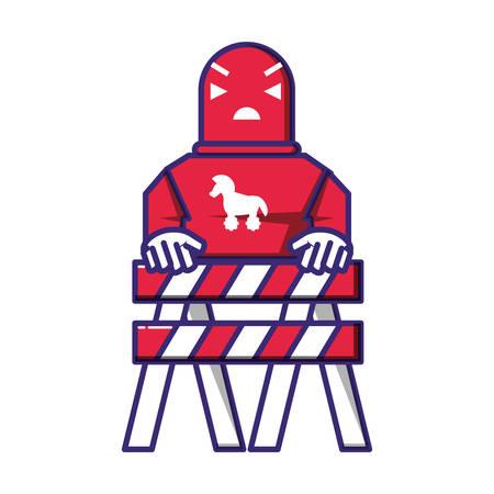 cyborg robot trojan with fence vector illustration design 矢量图像