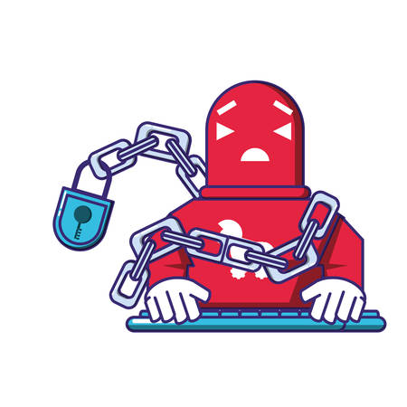 cyborg robot trojan with chain and padlock vector illustration design