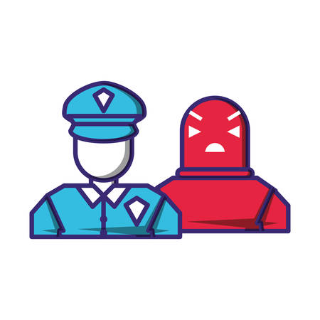 security agent with robot avatars vector illustration design