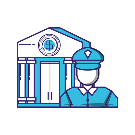 security agent with bank building vector illustration design