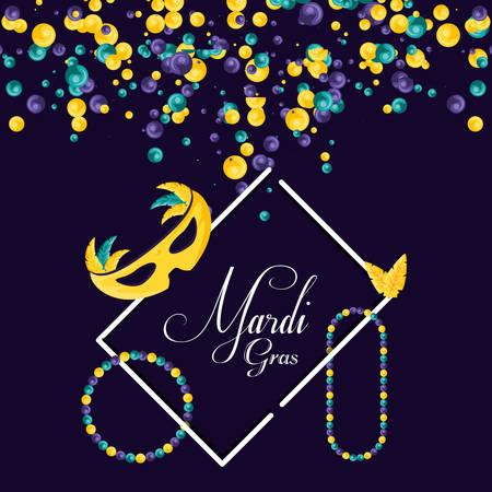 mask and frame of mardi gras celebration vector illustration design