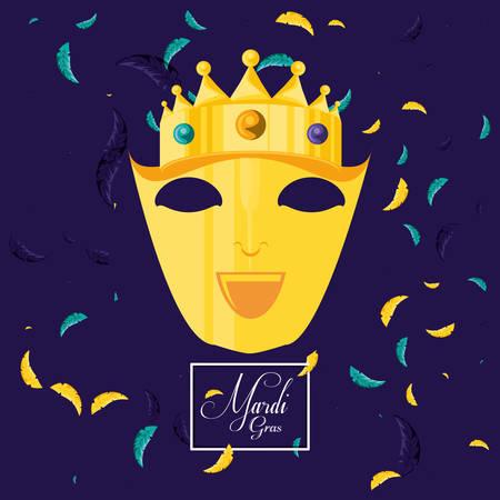 mask carnival of mardi gras celebration vector illustration design