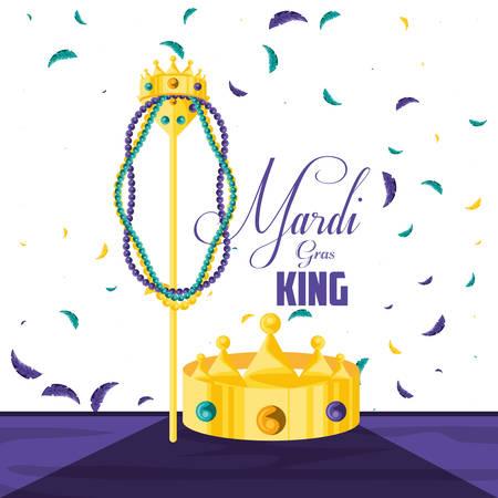 crown king of mardi gras celebration vector illustration design