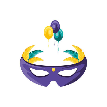 mask carnival with feathers and balloons helium vector illustration design