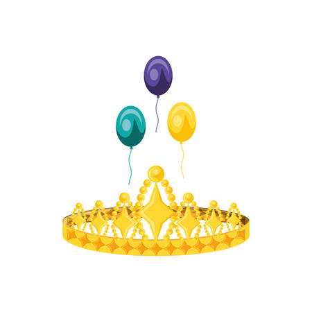crown queen with balloons helium vector illustration design