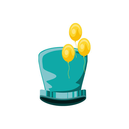 carnival top hat with balloons helium vector illustration design